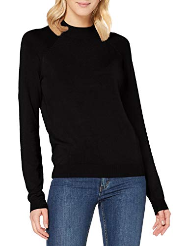 PIECES PCESERA LS High Neck Knit Noos Pullover, Nero, L Donna
