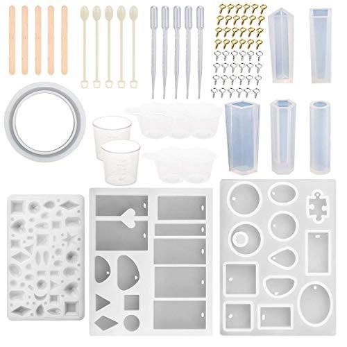 MIKI-Z 1 Unidades Cristal Epoxi Silicona Molde Herramienta Set Ornamento Collar Colgante DIY Fabricación Materiales