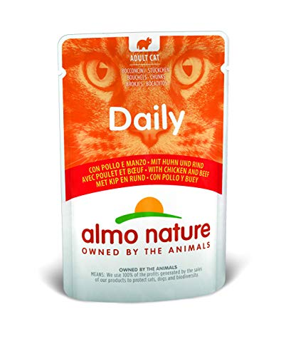 ALMO NATURE Alimento Diario para Gatos con Pollo y Carne de Res, 70 g, Paquete de 30