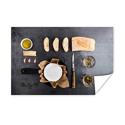 Knolling - verzameling van etenswaren met camembert en brood 180x120 cm XXL/Groot formaat!