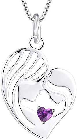 YL Mother and Daughter Necklace 925 Sterling Silver Mum Hold Child Heart Pendant Created Amethyst product image