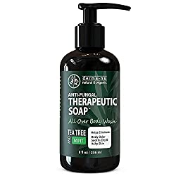 Antifungal Soap with Tea Tree Oil & Active Ingredients Help Treat & Wash Away Athletes Foot, Nail Fungus, Jock Itch, Ringworm, Body Odor & Acne