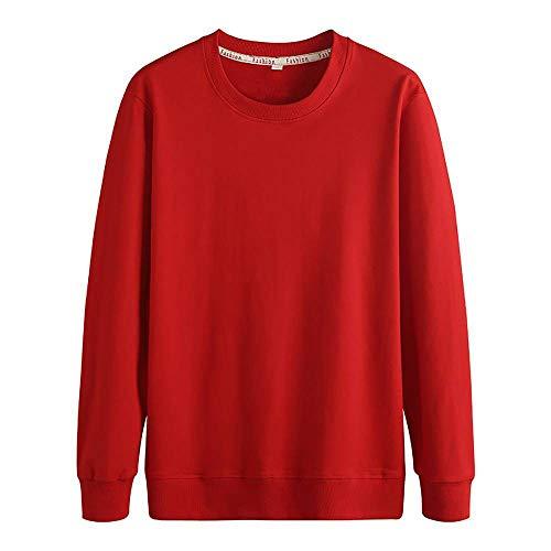 HYLLGI Sudadera de algodón con cuello redondo, color liso, camisa de manga larga rojo XXXXXL