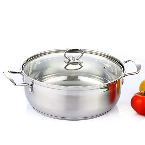 Cacerola baja inox con tapa de cristal,apta para todo tipo de cocinas,Olla de cazuela,incluida inducción,30cm