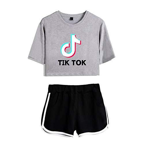 LBTIAN TiKToK niñas de Manga Corta Camiseta Tapa y los Cortocircuitos 2 Piezas Entrenamiento de la Gimnasia Ejecución de chándal Ourtfits Ocasional del Verano de la Ropa de Deporte