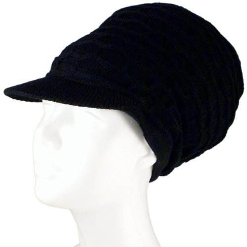 Rasta Dread Knit Tam Hat - 'Dreadlocks Cap' (Medium Length Solid Black, with Brim)