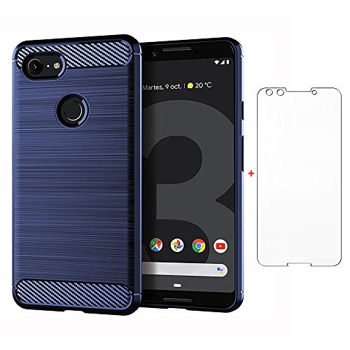 Phone Case for Google Pixel 3 with Tempered Glass Screen Protector Cover Cell Accessories Slim Thin Full Body Silicone Rubber Pixel3 Pixle Cases Women Men Navy Blue