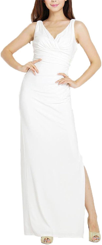 Angel&Lily VNeck Multifold ExtraLong Side Slit Dress 1x10x