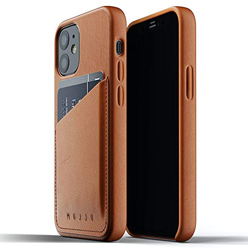 Mujjo Full Leather Wallet Case for iPhone 12 Mini | Premium Genuine Leather, Natural Aging Effect | Leather Pocket for 2-3 Cards, Wireless Charging (Tan)