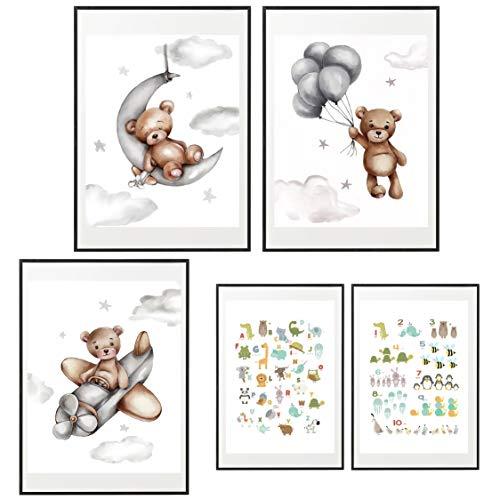 Mr. Castle Laminas Decorativas para enmarcar Cuadros de Pared. Estilo Infantil. Grandes 30 x 40cm y 20 x 30cm. Posters decoración del hogar, Cuarto de bebé (Osos) 🔥