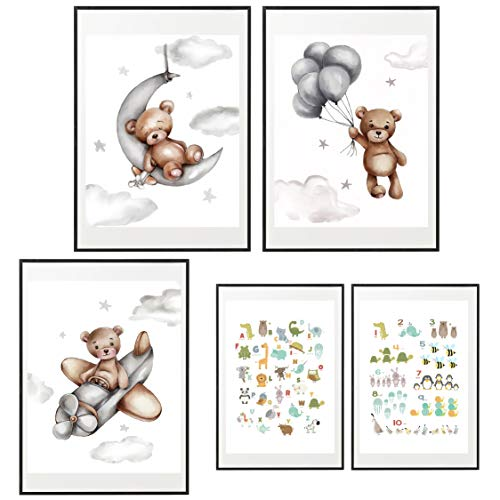 Mr. Castle Laminas Decorativas para enmarcar Cuadros de Pared. Estilo Infantil. Grandes 30 x 40cm y 20 x 30cm. Posters decoración del hogar, Cuarto de bebé (Osos)