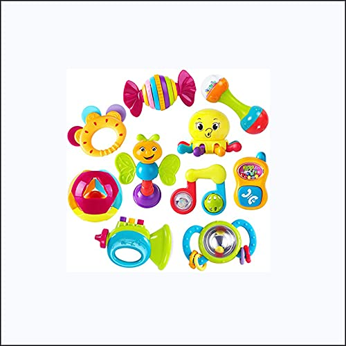 LUWEI 10 Baby Rattle Toys, Baby Rocking Chair, Teether, Grasping and Rotating Rattle, Musical Toy Set, Early Education, Newborn Baby Gifts, Suitable for 0, 3, 6, 9, 12-Month-Old Girls, Boy