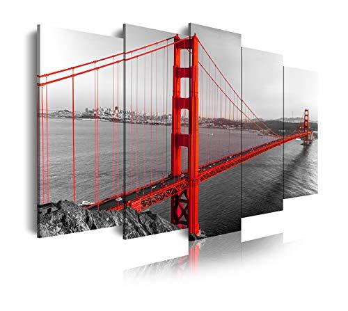 DekoArte 181 - Cuadros Modernos Impresión de Imagen Artística Digitalizada | Lienzo Decorativo Para Tu Salón o Dormitorio | Estilo Ciudades EEUU Golden Gate San Francisco | 5 Piezas 200 x 100 cm XXL