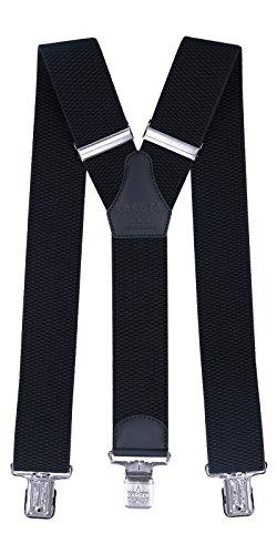 Ranger Hosenträger für Männer Y-Form, 5cm breit, 130 lang, regulierbare und elastische Hosenträger mit sehr starken Klipps - robust Dyk50 (schwarz)