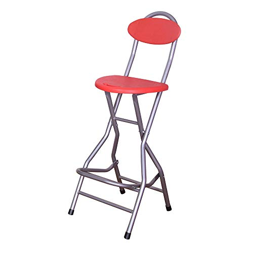 Folding chair Silla Plegable de pie Alto con Respaldo portátil Azul/Rojo, Taburete de Pesca, Taburete Delantero, Taburete de Bar, Silla de Pesca en Hielo, Silla para Exteriores