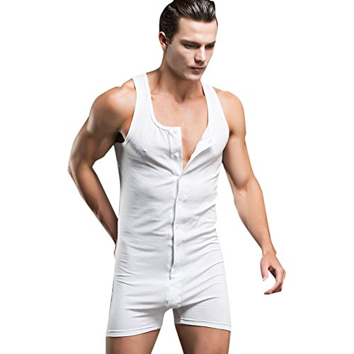 iEFiEL Herren Body Bodywear Overall Weich Bodysuit Männerbody Einteiler Unterhemd Unterwäsche M-XL Weiß L