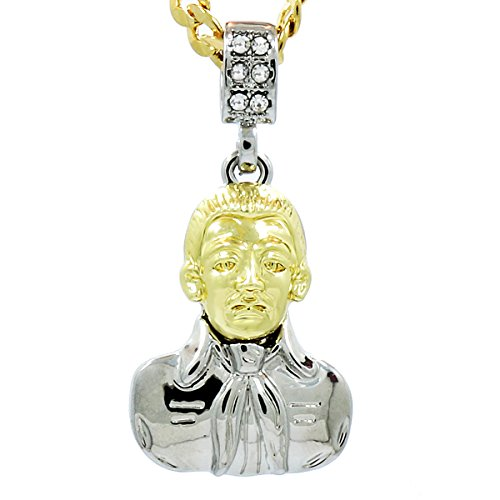 "Men's Gold Tone New Fully Malverde Pendant Hip-hop with 5mm 24"" Cuban Chain"