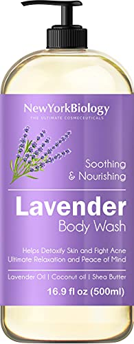 New York Biology Lavender Body Wash – Acne and Eczema Body Wash - Moisturizing and Hydrating Body Cleanser – Helps Restore and Cleanse Skin – Relaxing and Soothing Bath Wash – 16 oz