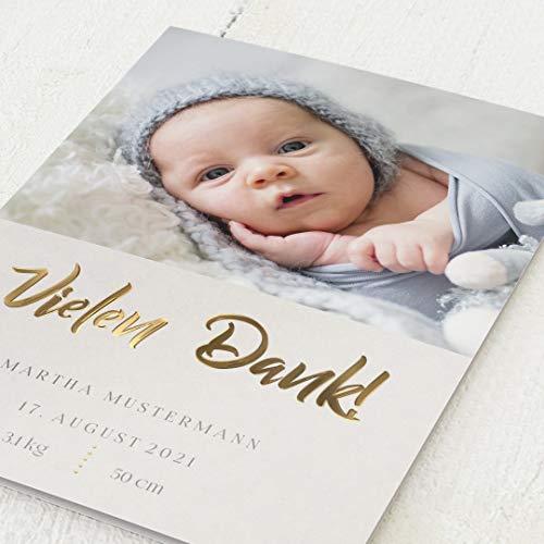 sendmoments Danksagung Geburt, Baby ist da, 5er Klappkarten-Set C6, mit Goldfolien-Veredelung, personalisiert mit Bild und Goldfolien-Veredelung, optional Design-Umschläge