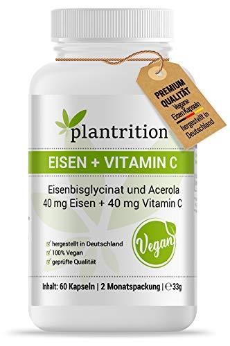 plantrition Eisen Kapseln hochdosiert Vegan 40mg Eisenbisglycinat + natürliches Vitamin C 40mg - 60 Kapseln, hohe Bioverfügbarkeit, hervorragende Verträglichkeit
