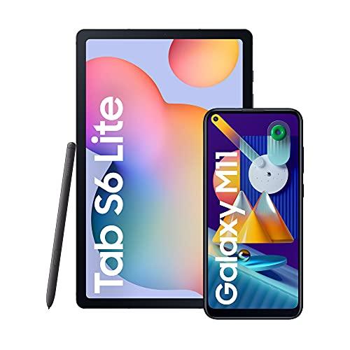 SAMSUNG Galaxy Tab S6 Lite - Tablet de 10.4' (WiFi, Procesador Exynos 9611, RAM de 4GB, 64GB, Android 10) - Color Gris [Versión española] + Smartphone Dual SIM, Pantalla de 6,4', Color Negro