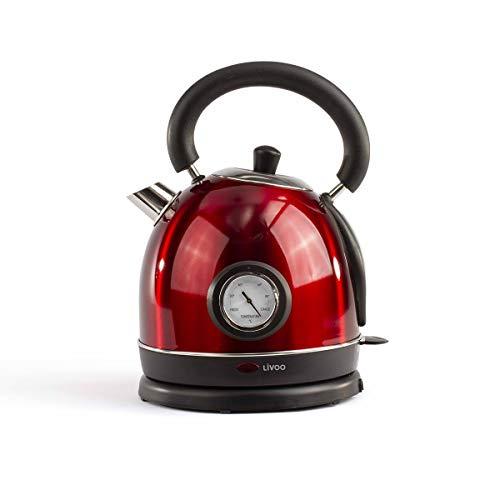 Hervidor de agua retro vintage rojo con termómetro integrado | Capacidad 1,8 L, apagado automático, filtro antical | 1800 W