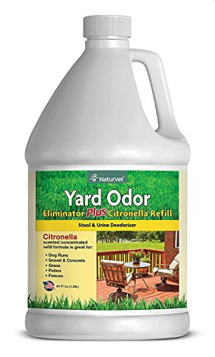 NaturVet – Yard Odor Eliminator Plus Citronella Spray – Eliminate Stool and Urine Odors from Lawn and Yard – Designed for Use on Grass, Patios, Gravel, Concrete & More – 64oz Refill (No Hose Nozzle)