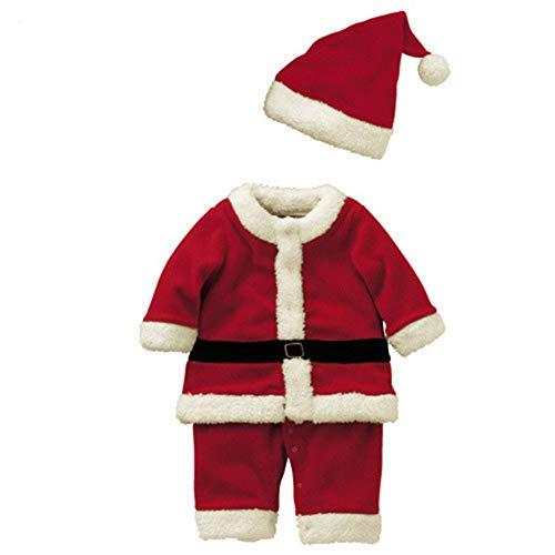 Cosanter Disfraz de Papá Noel, Ropa de Navidad para niños y Niña, Santa Claus Cosplay Rojo (130cm)