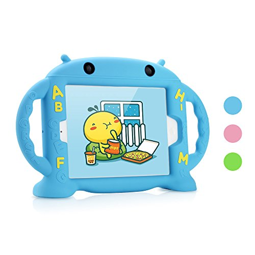 Dwopar iPad Mini 1 2 3 4 Case for Kids, Soft Silicone Kids Proof Case with Carrying Handle Shockproof Baby Proof Protective and Durable Cover with Stand for Apple iPad Mini 1 2 3 4 Robot Baby - Blue