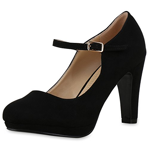 SCARPE VITA Damen Pumps Mary Janes Blockabsatz High Heels T-Strap 160319 Schwarz Velours 38