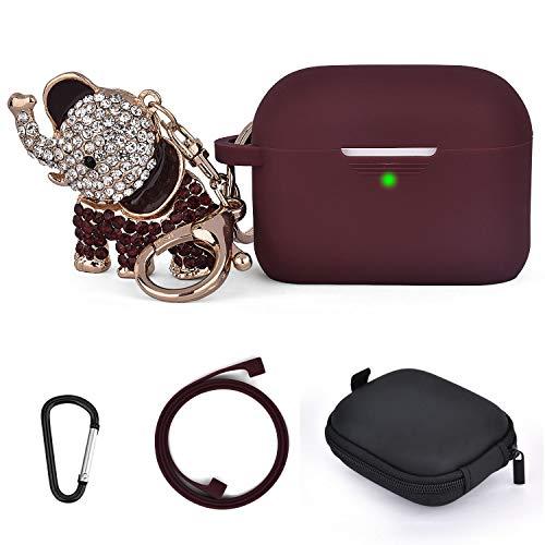 Airpods Pro Hülle Case Süß Elefanten Schlüsselanhänger, 5 in 1 Airpod Pro Schutzhüllen Silikon mit Streifen/Aufbewahrungsbox Kompatibel für Apple Airpods Pro Hülle Frauen Mädchen Männer(Burgundy)