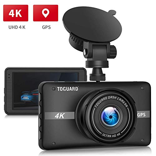 TOGUARD 4K UHD Dash Cam Built-in GPS Dashboard Camera Recorder 3'' LCD 170° Wide Angle Car Dash Camera with Night Vision, 24Hs Parking Mode, G-Sensor, Time Lapse