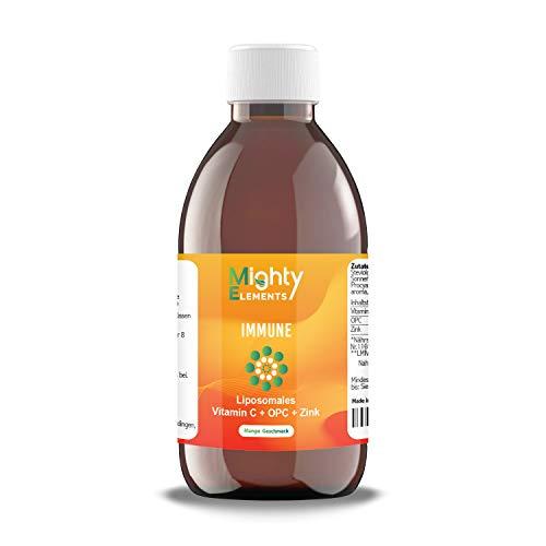 NEU 3 in 1 - Liposomales Vitamin C (1000 mg) I OPC (200 mg) I Zink (15 mg) I Immunsystem I hochdosiert I hohe Bioverfügbarkeit I flüssig | Ascorbinsäure I Mighty Elements Immune 250 ml