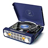 ION Audio Bronco LP-Vintage Turntable/Vinyl Record Player with Speakers, AM/FM Radio, USB and Aux inputs – Blue Navy Finish