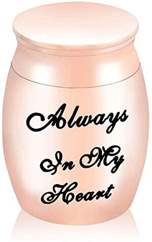 JJPRFO Urnas para Cenizas Pequeño 30 * 40 mm Memorial Mini Urna de Metal para cremación para Cenizas Aleación de Aluminio Pequeña urna de Recuerdo funerarioSiempre en mi corazón-Rose_Gold_30x40mm