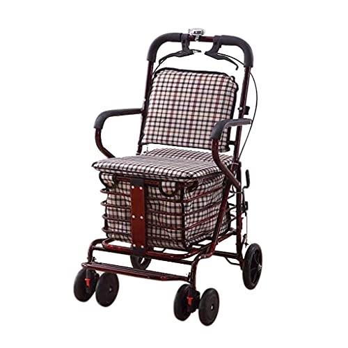 FHISD Selbstfahrender Einkaufstrolley Tragbarer, Faltbarer, sechsrädriger Rollator für ältere Menschen mit Bremsen, 360-Grad-drehbaren Rädern und Einkaufstaschen mit großem Fassungsvermögen