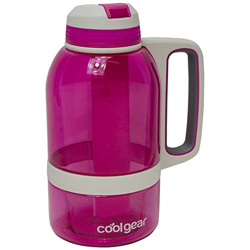 COOL GEAR 64 oz System Sports Water Bottle with Freezer Stick and Handle | Durable, Shatter Resistant Tritan Material Colored Water Bottle