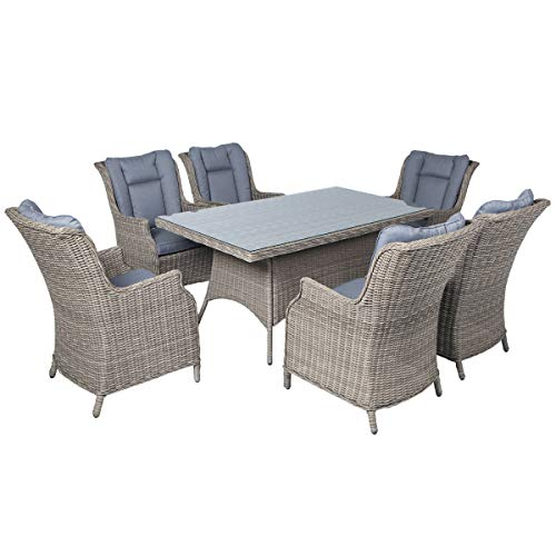 Mayfair Athens 6 Seater Rectangular Rattan Dining Set - Light Brown Grey Weave with Grey Cushion