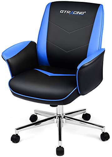 GTRACING Gaming Chair Office Computer Chairs Swivel Leather Desk Chair Ergonomic Padded Back and Seat Height Adjustment Rocking Mid Back PC Chair (Blue) blue chair gaming
