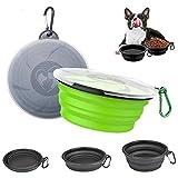 Sunwuun Faltbarer Hundenapf, 2 Stück Silikon reisenapf Hund mit Deckeln & Karabinern für kleine Haustiere, Hunde, Katzen, Futter und Wasser Schüssel (Schwarz und Grün)