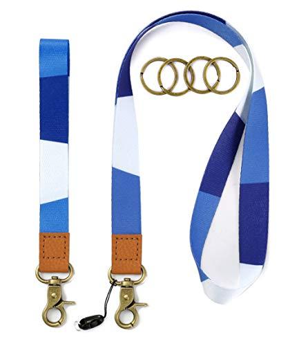Cool Lanyards Key Chain Holder Wrist Lanyard Badge Holder Lanyard Key Chain Keyring Neck Straps Lanyard Premium Quality Wristlet Strap Cool Neck Lanyard (Blue Stripes)