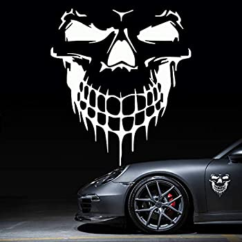 HungMieh Skull Stickers and Decals for Car Windows Doors and Trucks 3D Skull Decals and Signs for Car Styling Reflective Silver Skull Bumper Stickers for Car Decor