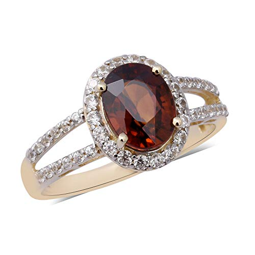 TJC AAA Red Zircon 9ct Yellow Gold Halo Ring for Women White Zircon Size N, 4 Ct