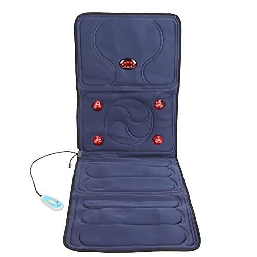 Cojín eléctrico para sillón de masaje con luz roja de 9 modos, colchoneta de masaje para todo el cuerpo con calor, cojín para sillón de masaje con vibración y calefacción plegable 100‑240V(EU)