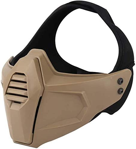 ATAIRSOFT/Airsoft T/áctico Militar 2 Modos M/áscara Protectora de Media Cara para Paintball Caza Juegos de Guerra Cosplay Fiesta de Disfraces de Halloween CS