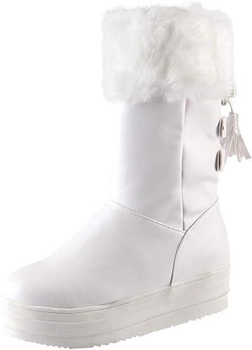 ZHRUI botas para mujer zapatos para mujer botas para mujer botas Medias Art Fashion para mujer con Cordones Franja Talón Plano Botines de Invierno zapatos Casuales (Color   blancoo, tamaño   43 EU)