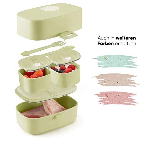 Ecolina ♻ Nachhaltige Lunchbox für Kinder - 3 integrierte praktische Dosen - Extra kinderfreundliche Bento Box - Perfekt für Unterwegs (Grün)