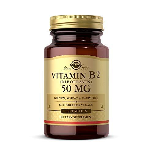 Solgar Vitamin B2 (Riboflavin) 50 mg, 100 Tablets - Energy Metabolism, Healthy Nervous System - Vegan, Gluten Free, Dairy Free, Kosher - 100 Servings