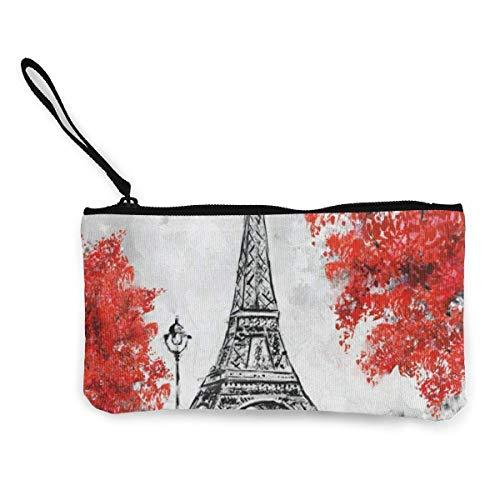 Unisex Wallet, Coin Bags, Canvas Coin Purse Vintage Eiffel Tower Customs Zipper Pouch Wallet for Cash Bank Car Passport