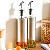 Crystalware 500 ml Oil Dispenser, Vinegar Cruet Bottle, Air Tight Salad Dressing Cruet Glass Oil Bottle, Clear, Pack of 2